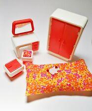 Barbie Dream House Bedroom 1977 Vintage White-Orange camera da letto