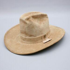 "Henschel Westerns Men's Small Cowboy Tan Saddle Hat Millinery 3.5"" Brim - USA"