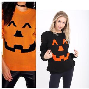Women Ladies Men Unisex Halloween Pumpkin Printed Knitted Jumper Jersey Pullover