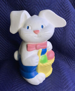 "1993 TPI 18"" Easter Bunny Rabbit Blow Mold No Cord Light Bright Colors"