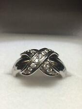 TIFFANY & CO. 18K White Gold X Pave Diamond Ring (Size 5 1/2)