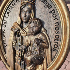 Virgen del Carmen Our Lady of Mount Carmel wooden wall canvas personalized gifts