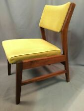 Danish Style Mid Century Modern Solid Wood Chair Vintage Yellow Tweed Chair