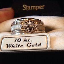 NIB Mens Only 10K White Gold Harley Davidson Ring Wedding 11 Or 13 Lemme Know