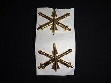 2 US Army AIR DEFENSE ARTILLERY Gold Tone Metal Collar Badges