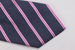 Luciano Barbera Neck Tie NWT Navy with Pink and White Stripes 100% Silk