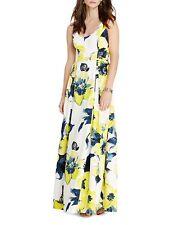Ralph Lauren Floral Print Faille Gown Summer Evening Dress Size 16 Blue Yellow
