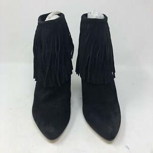 Chinese Laundry Women's Size 7.5 Arctic Burnished Black Fringe Ankle Boots PM