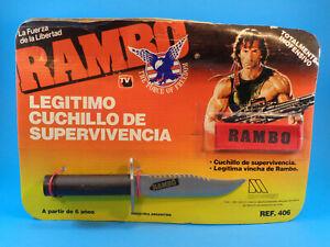 VINTAGE 1988 RAMBO SURVIVAL KNIFE SAWBACK & HEADBAND (STALLONE ) CARD ARGENTINA
