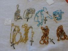 lot de 8  anciens chapelet perles en verre 4 couleurs FD DE STOCK f FRANCE
