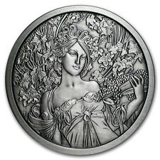 5 oz Silver Antique Round Mucha Collection (Champagne White Star)
