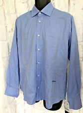Just Cavalli Mens Blue Designer Shirt Size 15 3/4 L/S Cotton 40 Chest Smart  NEW
