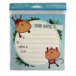 Monkey Themed Birthday Invitations- Pack of 16