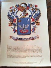 Magagnini Family Crest Coat Of Arms Motto Photograph Print Latin Wall Art Decor