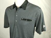 Mens Travis Mathew Golf Polo Shirt Large Black Grey Striped S.Sleeve Pima Blend