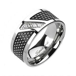 Two Tone Mens 8mm Titanium Classic Traditional Wedding Band Ring CZ Sizes 9-14