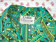 Vintage 1960/70s Colin Glascoe Green Geometric Print Dress & Hot Pants Outfit