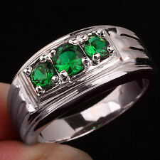 3-stone Green Emerald Men 925 Sterling Silver Ring Size 12 Gift for Boyfriend