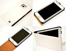 White Slim Genuine Leather Real Leather Case Cover for Samsung Galaxy S2 i9100