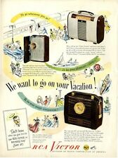 """1948 RCA PRINT AD Victor Model 54B, 8BX6, 8BX5 """"We want to go on vacation..."""""""