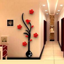 1pc 3D vaso fiore albero cristallo Arcylic Wall Stickers Decal Home camera decor