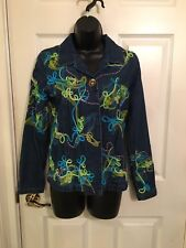 Christmas Ribbon Denim Jacket Petite Small Women's Ladies 'Ugly Sweater'  Used
