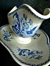 Saucière terre de fer CREIL MONTEREAU PAPILLONS bleus tampon de 1885 à 1920