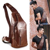 New Mens Genuine Leather Chest Back Pack Shoulder Messenger Sling Bag Crossbody