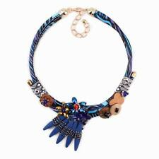 Rope Chain Wood Handmade Chunky Statement Crystal Flower Pendant Women Necklace
