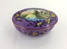Vtg Limoge Paulhat Hand-Painted Purple Windmill Porcelain Trinket Box Signed
