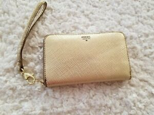 Fossil Sydney Zip Clutch Leather Wallet Organizer Lovely Gold with Gold Hardware