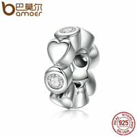 Bamoer Authentic S925 Sterling Silver Charm Love of heart Fit Bracelets Jewelry