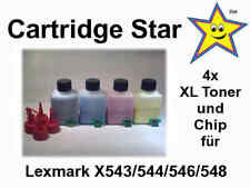 4x XL Refill Toner + Chip für Lexmark X543 544 546 548 (8500 S.)