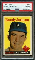 1958 Topps BB Card #301 Randy Jackson Los Angeles Dodgers PSA EX-MT 6 !!!