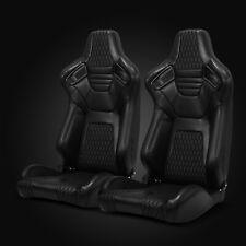 Universal Jdm Black Pvc Leather White Stitching Racing Bucket Seats Left&Right