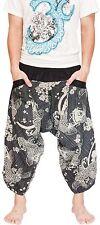 Hippie Japanese Style Harem Pants Yoga Trousers Parkour Art Koi Carp Fish Black