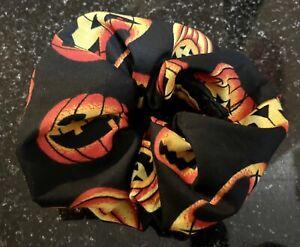Hair Scrunchies - Happy Jack o Lantern Print - Handmade