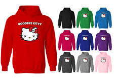 Womens Goodbye Kitty Hello Cat Funny Parody Pullover Hoodie NEW UK 12-20