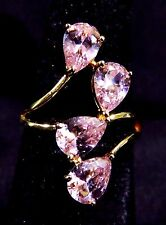 Elegant 18K Gold Filled Size 8 Ring Four 7*5mm Pink Topaz Gemstones