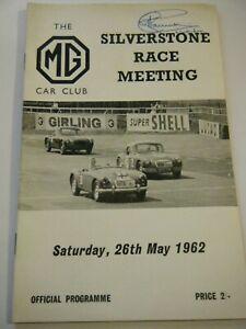 SILVERSTONE PROGRAMME 1962 MG CAR CLUB MG MGA MIDGET TC TD TF LOTUS ELITE PERRY