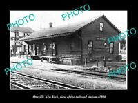OLD LARGE HISTORIC PHOTO OF OTISVILLE NEW YORK, THE RAILROAD DEPOT STATION c1900
