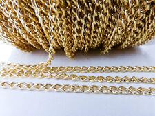 2 metros X cadena de torsión de hierro 5mm X 3mm oro NF lf cadenas hallazgos (FFC5024)