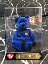 Ty Beanie Baby Bear Clubby Official Club 1998 Royal Blue in Display Case - Mint