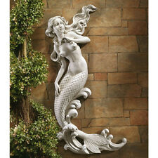 Mermaid Wall Decor Sculpture Nautical Art Hanging Statue Stone Finish Garden New