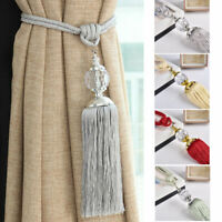 2PCS Curtain Holdbacks Rope Tie Backs Tassel Tiebacks Crystal Ball Decor 4 Color