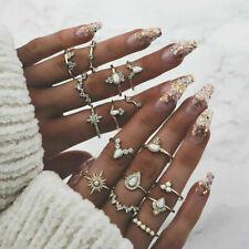 10 Pcs BOHO Moon & Sun Knuckle Opal Finger Ring Set Crown Flower Midi Rings
