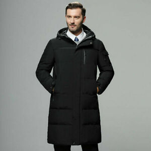 Men's White Duck Down Jacket Long Hooded Jacket Down Parka Thicken Winter Skiing