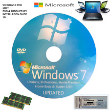 Windows 7 Professional 32 Bit SP1 - 1 COA License Key - Format HDD CD DVD PC