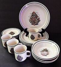 4 Place Setting Christmas Stoneware Tree Pattern off White Green Holiday Dishes