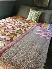 Vintage Kantha Quilt. Indian Sari Patchwork Throw. Twin Bohemian Bedspread.